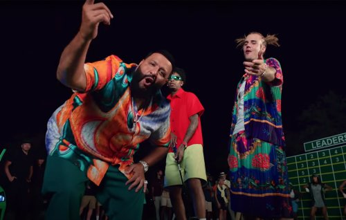 DJ Khaled plays golf with Justin Bieber and 21 Savage in music video for 'Let It Go'