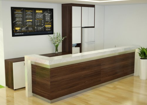Thiết kế thi công quầy lễ tân văn phòng công ty - Nội thất văn phòng