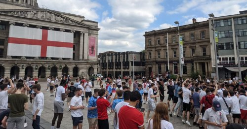 Football fans gather in Nottingham after England beat Croatia