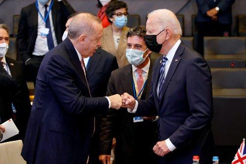Biden gives awkward fist-bump to Turkey's Erdogan at NATO summit