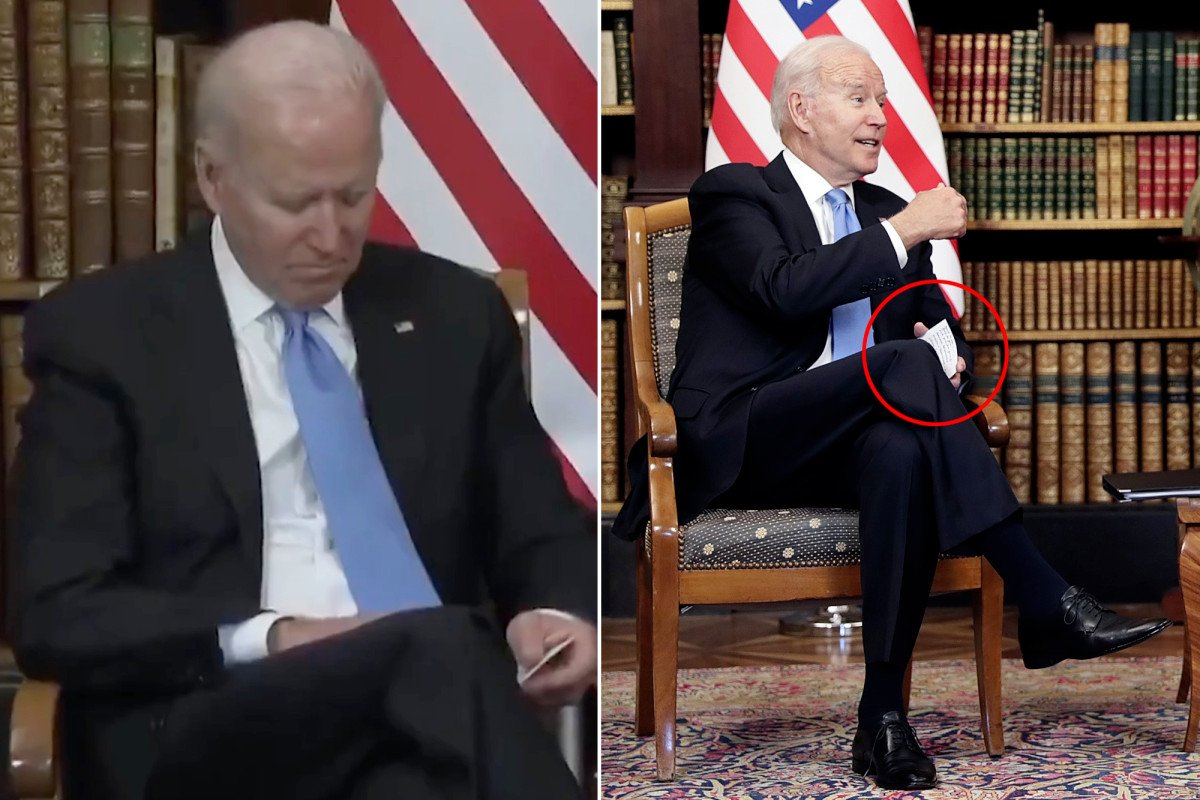 Biden appears to have 'cheat sheet' at summit meeting with Putin