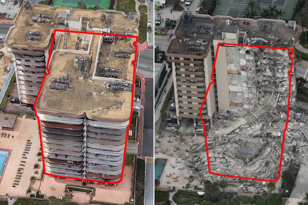 Shocking before-and-after photos show destruction of deadly Florida condo collapse
