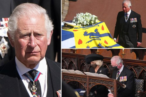 Prince Charles fights back tears during Philip's funeral service
