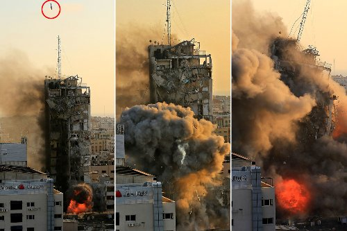 Pulse-pounding images show 14-story Gaza building destroyed by missiles from IDF jet