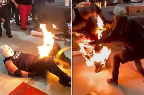 Fire stunt goes horribly wrong at Indiana wrestling event in wild video