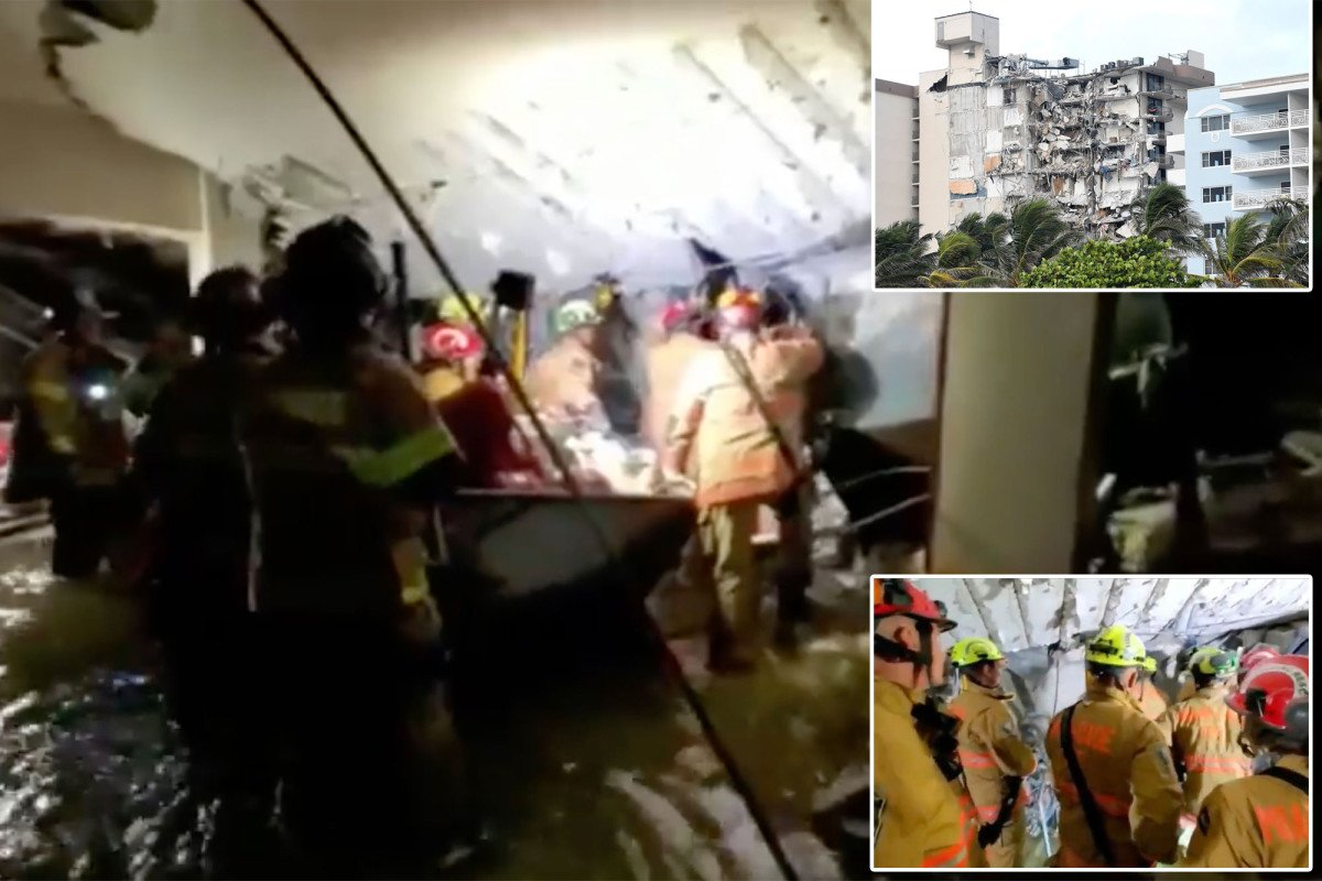 Dramatic video shows rescue efforts in basement of collapsed Florida condo