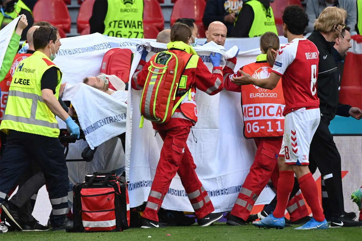 Christian Eriksen collapses on field during Euro 2020 match