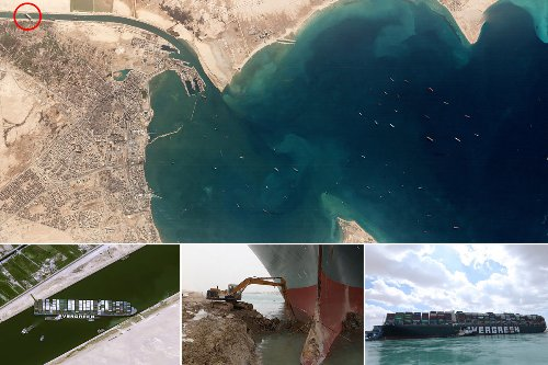 Satellite images show traffic jam caused by ship stuck in Suez Canal