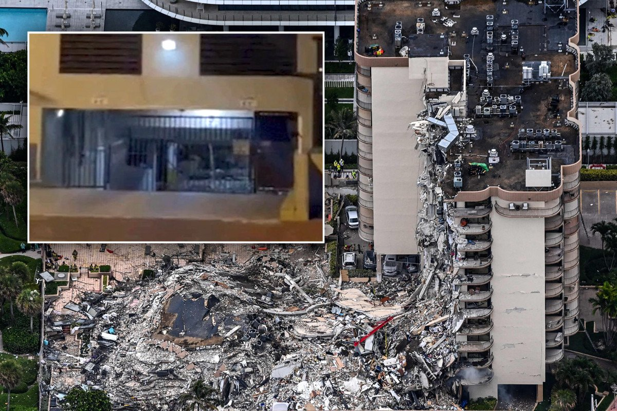 Video shows water gushing into garage moments before Florida condo collapse