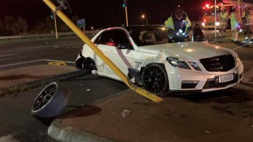 Alleged driver of crashed Mercedes with number plate 'SOBADD' arrested - NZ Herald
