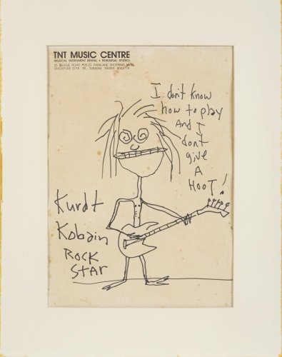A Scribbled Kurt Cobain Self-Portrait Has Sold at Auction for $281,250