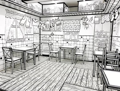 2D Cafe Makes You Feel Like You're Inside a Black and White Coloring Book