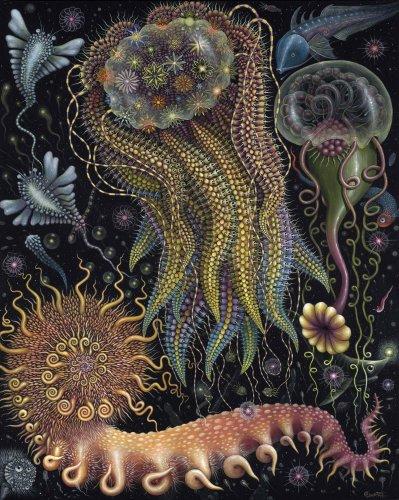 Ilustraciones psicodélicas, de micro universos marinos | Ilustración
