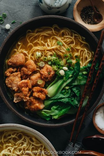 Curry Noodle Soup with Popcorn Chicken