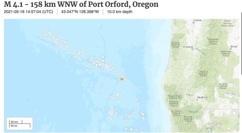 4.1 earthquake strikes 100 miles west of southern Oregon coast