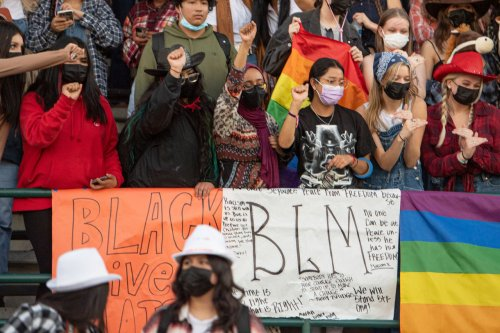 Tigard High football fans display Pride, Black Lives Matter banners to protest Newberg school board's proposed ban