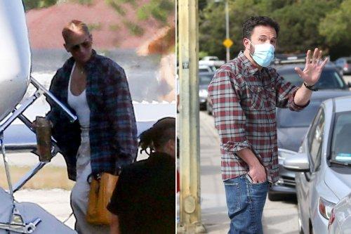 Jennifer Lopez appears to be wearing Ben Affleck's shirt