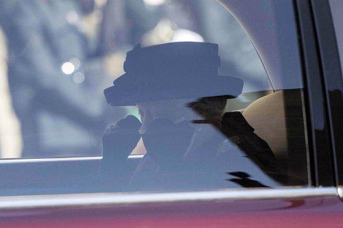 Queen Elizabeth captured dabbing her eye at Prince Philip's funeral