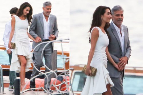 George and Amal Clooney go glam for fancy Italian dinner with family