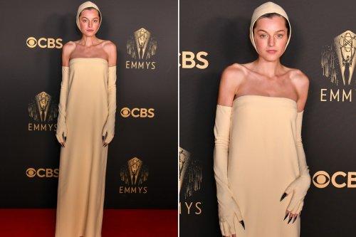 Emma Corrin rocks black claws and a 'swim cap' on Emmys 2021 red carpet