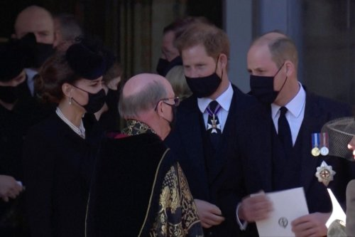 Princes William, Harry seen talking amiably after Prince Philip's funeral