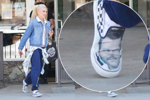 Gwen Stefani steps out in shoes with Blake Shelton's face on them