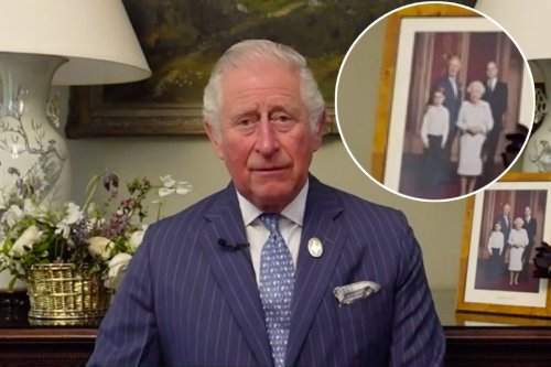 Prince Charles hosts video message in front of pic with Queen, William and George