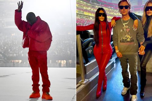 Kanye West and Kim Kardashian wear matching outfits for 'Donda' event