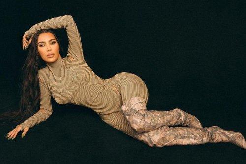 Kim Kardashian rocks butt cutouts and Yeezy heels for KKW Beauty