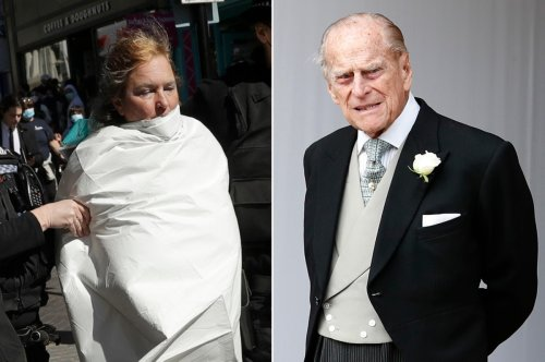 Topless woman arrested while protesting outside Prince Philip's funeral