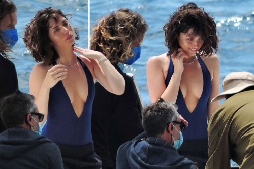 Ana de Armas spotted in plunging swimsuit on set of new movie