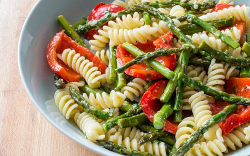 Pasta Salad with Asparagus and Red Bell Peppers is a Stress-Free Cookout Menu Hit