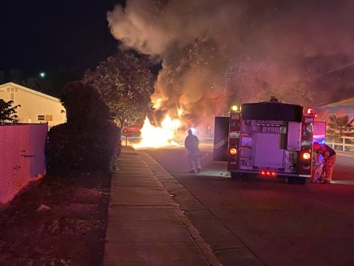 Motorhome destroyed by fire Sunday evening in Paso Robles