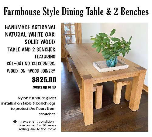 """Neighbor discussion: """"Moving! Solid Oak Farmhouse Table and benches for Sale in West..."""""""