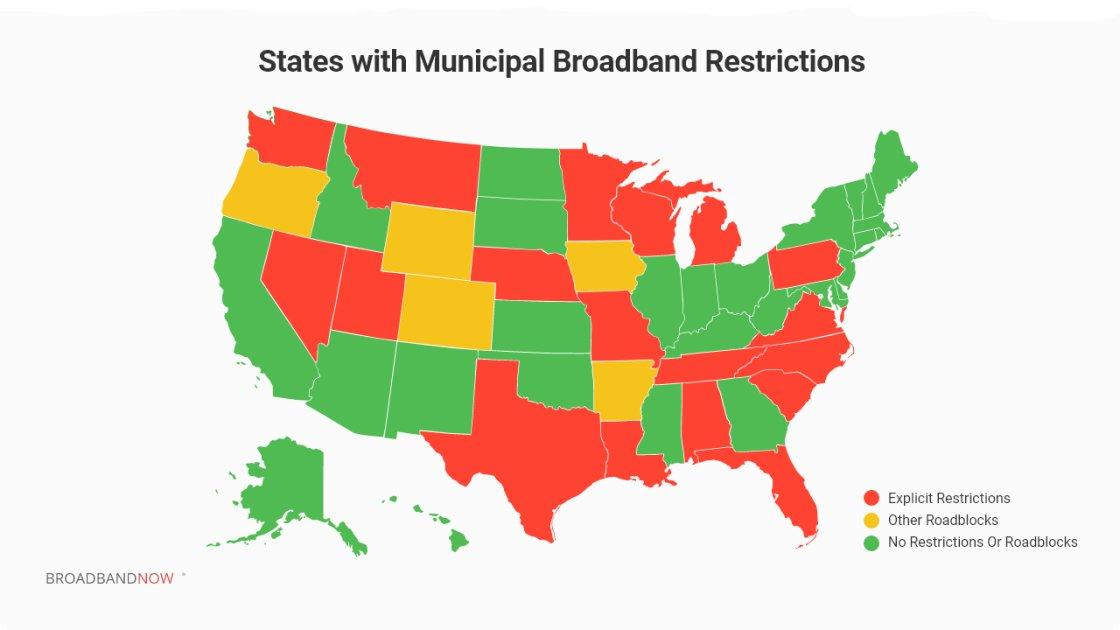 Municipal ISPs Blocked From Providing Cheaper Broadband in 18 States
