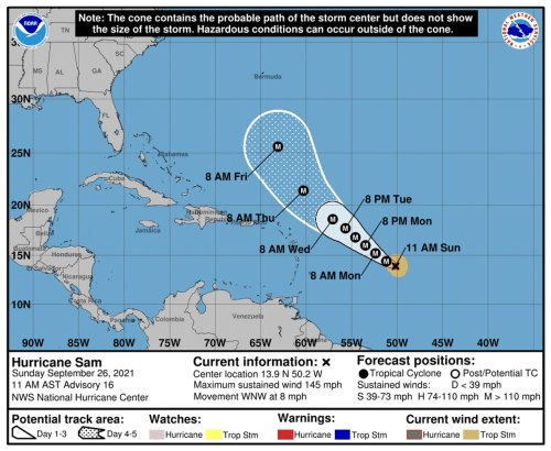 Hurricane Sam is a rare Category 4 storm, but any interaction with land appears to be at least a week away