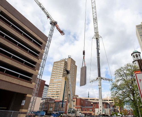 Crane assembled as Harrisburg University's 11-story, $100M addition moves into its next phase