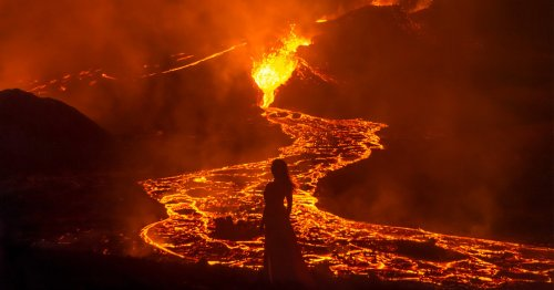 Photographer Takes Dramatic Self-Portraits with Iceland's Erupting Volcano