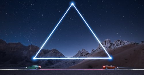 Photographer Lights Porche Sports Cars in the Desert with Drones