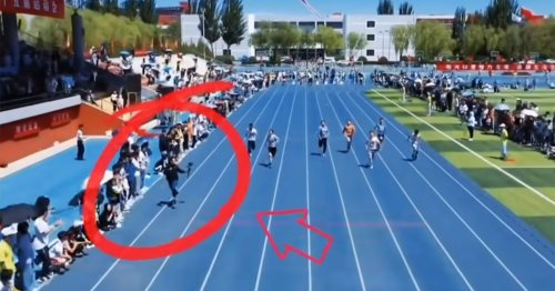 This Cameraman Outran the Sprinters in a 100m Race