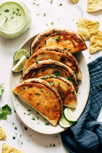 Crispy Black Bean Tacos with Cilantro Lime Sauce