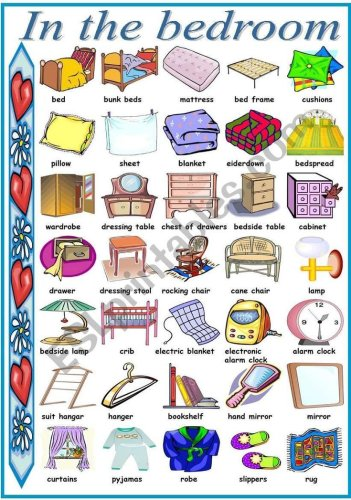 : Pictionary with vocabulary related to things we find in the bedroom. I hope you like it and f… | Aulas de inglês para crianças, Frases em inglês, Verbos em inglês