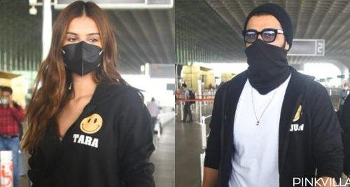 Tara Sutaria & Arjun Kapoor twin in black 'Ek Villain Returns' hoodies as they head to Goa for shoot; PHOTOS