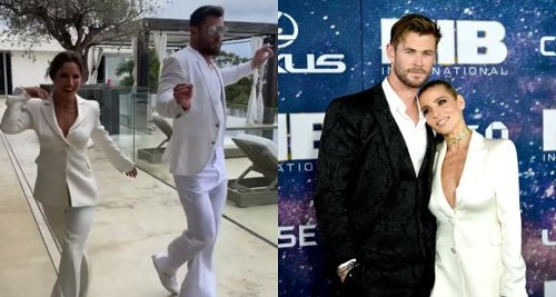 VIDEO: Chris Hemsworth and Elsa Pataky SUIT UP in white and party showing off their wicked dance moves