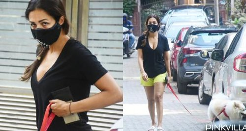 Malaika Arora steps out for a stroll with pet, maintains distance & opts for double mask amid COVID 19; PHOTOS