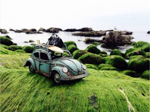 Vintage toy cars traveling : Swiss girl's therapeutic play