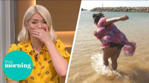 This Morning's Holly and Phillip in shock as Alison Hammond nearly falls in the sea