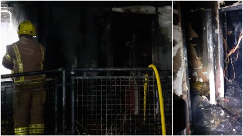 Scumbags! Dramatic images reveal devastation caused by 'deliberate' fire at Edinburgh football club