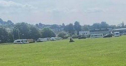 Travellers pitch up at busy Plympton field
