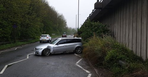 BMW spins out of control and crashes at A38 junction